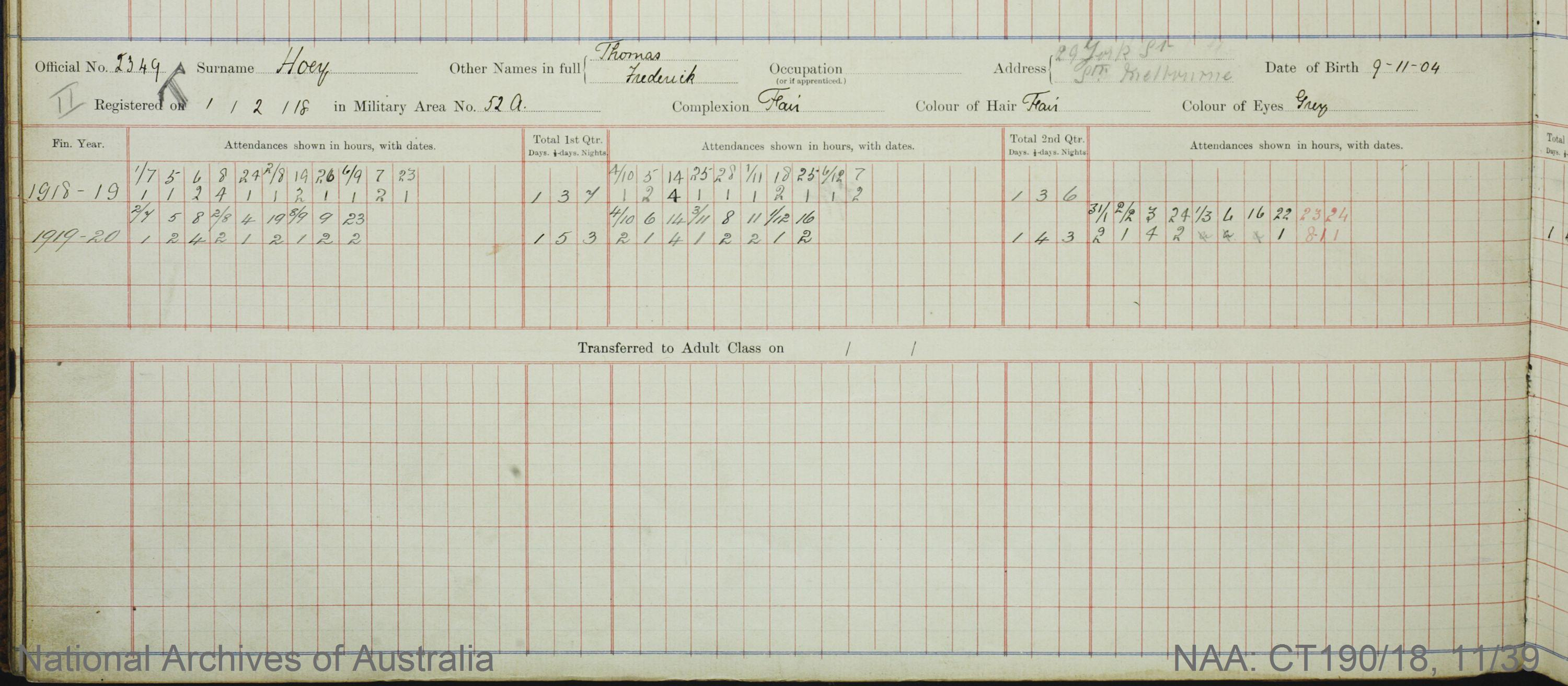 SURNAME - HOEY;  GIVEN NAME(S) - Thomas Frederick;  OFFICIAL NUMBER - 2349;  DATE OF BIRTH - 9 November 1904;  PLACE OF BIRTH - [Unknown];  NEXT OF KIN - [Unknown] ;  SERVICE/STATION - Port Melbourne;  REGISTRATION DATE - 1 February 1918