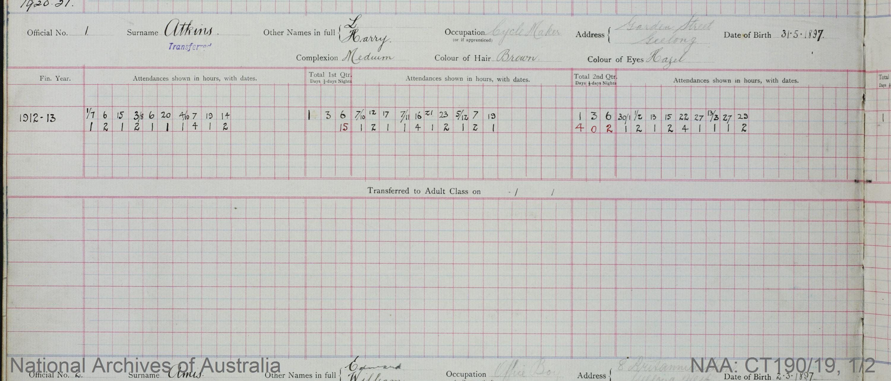 SURNAME - ATKINS;  GIVEN NAME(S) - L Harry;  OFFICIAL NUMBER - 1;  DATE OF BIRTH - 13 May 1897;  PLACE OF BIRTH - [Unknown];  NEXT OF KIN - [Unknown] ;  SERVICE/STATION - Geelong;  REGISTRATION DATE - 1 June 1912
