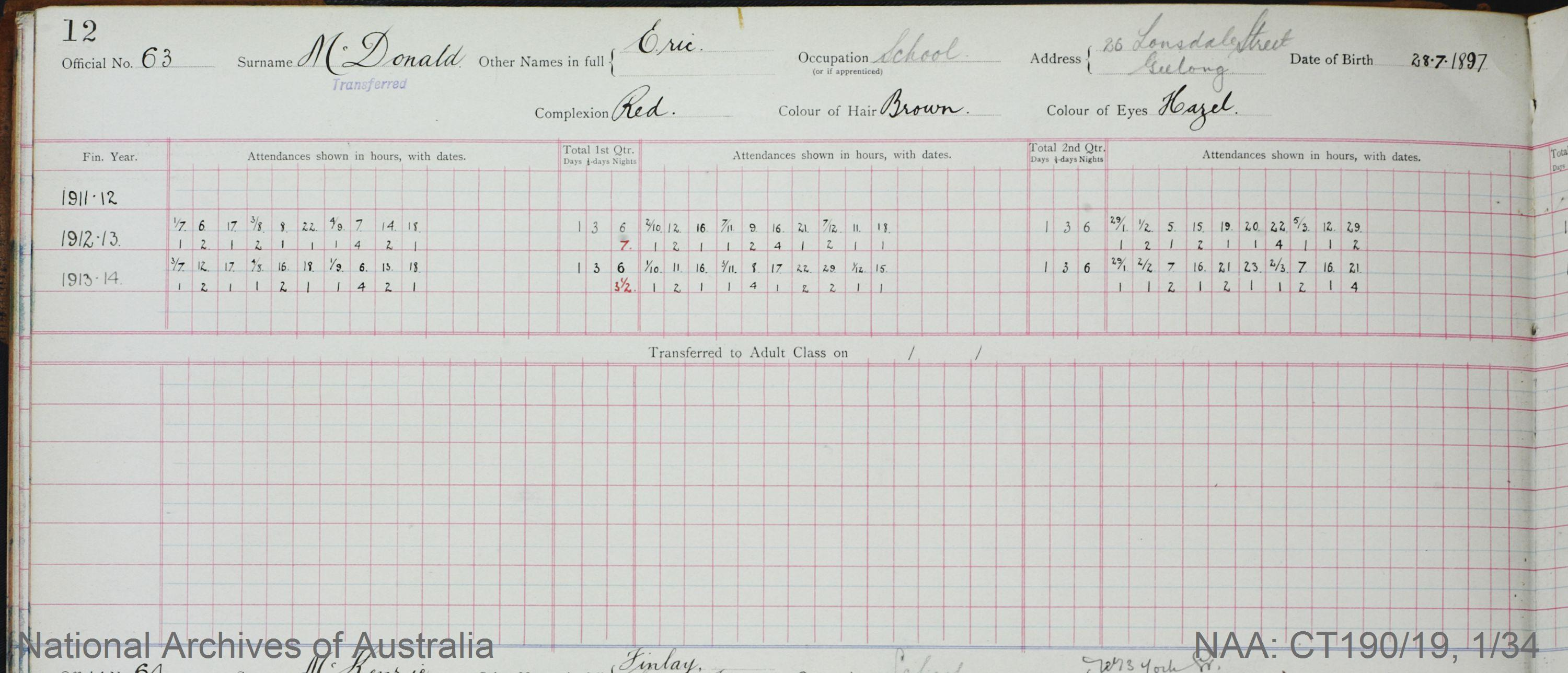 SURNAME - McDONALD;  GIVEN NAME(S) - Eric;  OFFICIAL NUMBER - 63;  DATE OF BIRTH - 28 July 1897;  PLACE OF BIRTH - [Unknown];  NEXT OF KIN - [Unknown] ;  SERVICE/STATION - Geelong;  REGISTRATION DATE - 31 January 1911