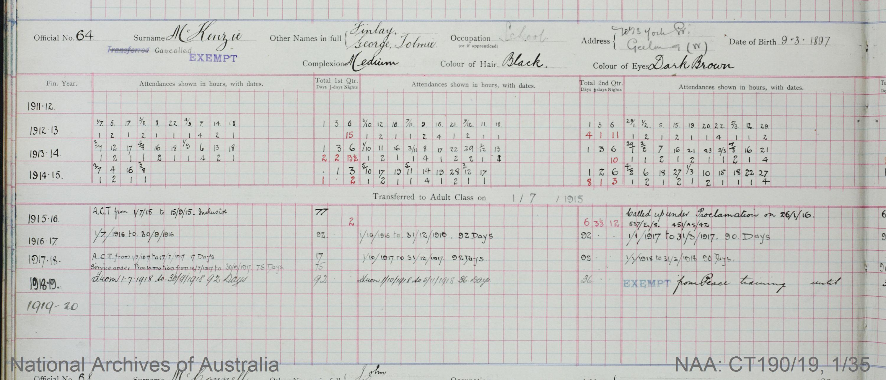 SURNAME - McKENZIE;  GIVEN NAME(S) - Finlay George Tolmie;  OFFICIAL NUMBER - 64;  DATE OF BIRTH - 9 March 1897;  PLACE OF BIRTH - [Unknown];  NEXT OF KIN - [Unknown] ;  SERVICE/STATION - Geelong;  REGISTRATION DATE - 31 January 1911