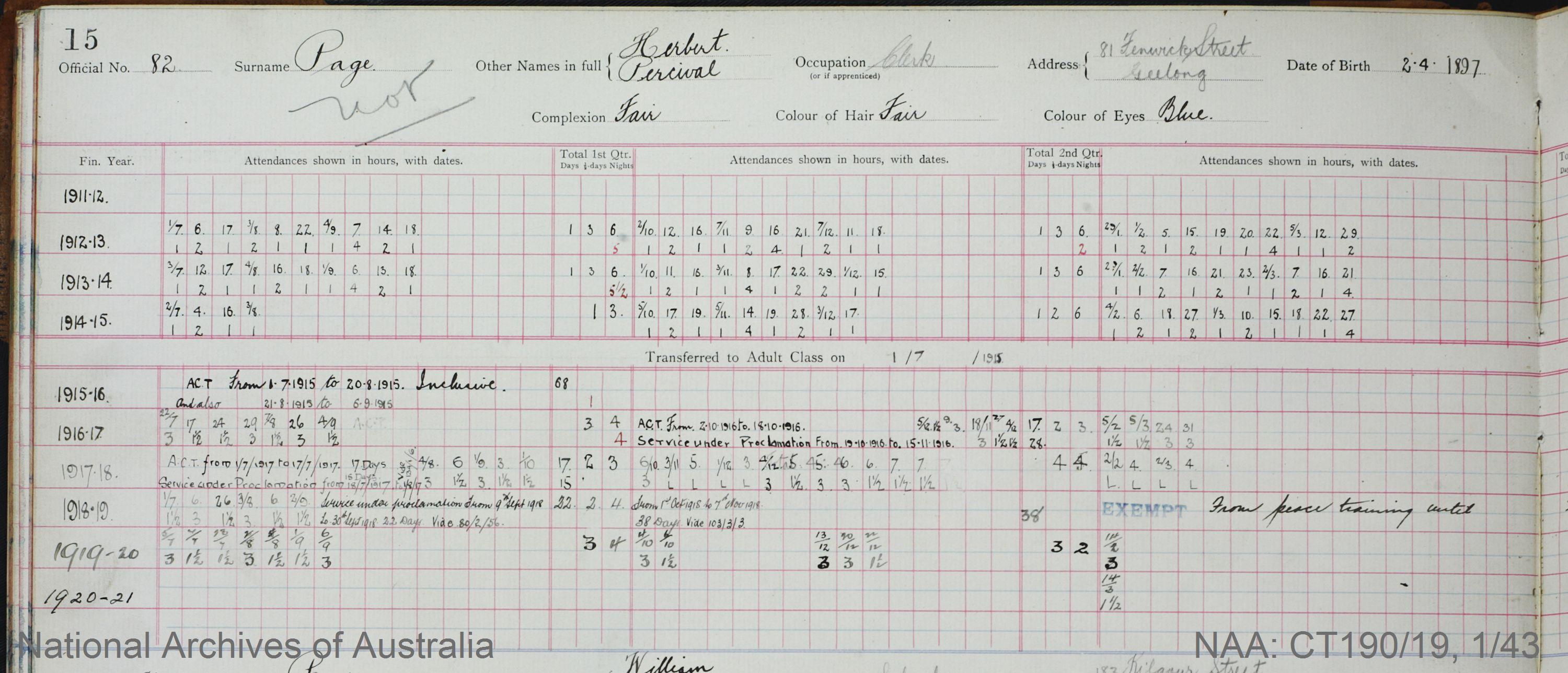 SURNAME - PAGE;  GIVEN NAME(S) - Herbert Percival;  OFFICIAL NUMBER - 82;  DATE OF BIRTH - 2 April 1897;  PLACE OF BIRTH - [Unknown];  NEXT OF KIN - [Unknown] ;  SERVICE/STATION - Geelong;  REGISTRATION DATE - 31 January 1911