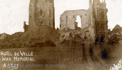 Records of Major Richard Victor Morse DSO (Distinguished Service Order) - World War I - Photograph of Hotel de Ville/a War Memorial in Arras
