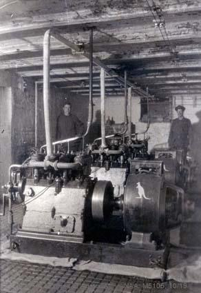 Records of Major Richard Victor Morse DSO (Distinguished Service Order) - World War I - Photograph of engine room at Ronville Caves,  Arras - one 50 horsepower Austin  and one 25 horsepower Events Simplex
