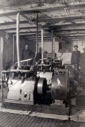 Records of Major Richard Victor Morse DSO (Distinguished Service Order) - World War I - Photograph of engine room - note Kangaroo insignia on machine in foreground