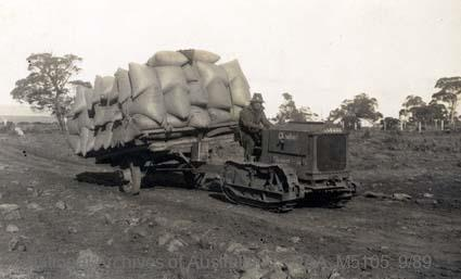 Records of Major Richard Victor Morse DSO (Distinguished Service Order) - World War I - Photograph of Cleveland halftrack pulling a load of wheat