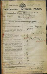 WALSH Dennis : Service Number - 5419 : Place of Birth - Pyrmont NSW : Place of Enlistment - Bathurst NSW : Next of Kin - (Mother) WALSH Nora