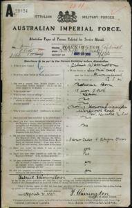 WARRINGTON Gabriel : Service Number - 2166 : Place of Birth - Murrumburrah NSW : Place of Enlistment - Sydney NSW : Next of Kin - (Mother) WARRINGTON Honorah
