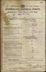 WARRY Stanley Richard : Service Number - Captain : Place of Birth - Maryborough QLD : Place of Enlistment - Brisbane QLD : Next of Kin - (Father) WARRY Richard James