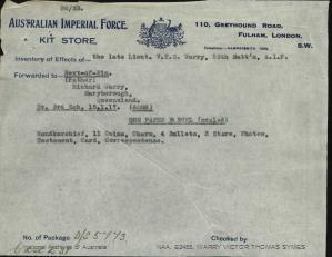 WARRY Victor Thomas Symes : Service Number - Second Lieutenant : Place of Birth - Maryborough QLD : Place of Enlistment - N/A : Next of Kin - (Father) WARRY Richard Symes