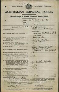 WEBB Eric Norman : Service Number - Major : Place of Birth - Lyttleton New Zealand : Place of Enlistment - Sydney NSW : Next of Kin - (Father) WEBB Samuel Rollin