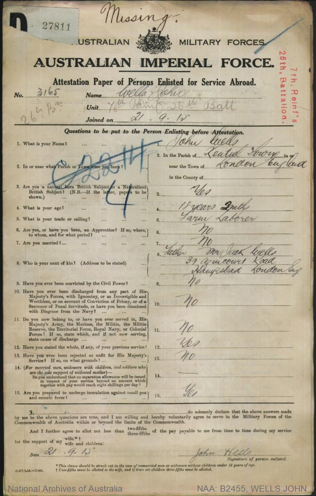 WELLS John : Service Number - 3165 : Place of Birth - London England : Place of Enlistment - Brisbane QLD : Next of Kin - (Father) WELLS Jack