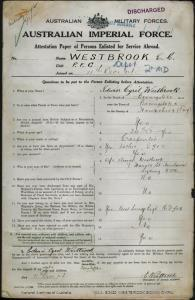 WESTBROOK Edwin Cyril : Service Number - Depot : Place of Birth - Basingstoke England : Place of Enlistment - Liverpool NSW : Next of Kin - (Wife) WESTBROOK Annie