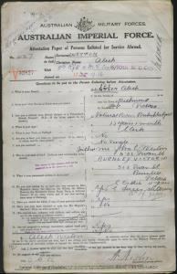 WESTON Aleck : Service Number - 427 : Place of Birth - Richmond VIC : Place of Enlistment - Melbourne VIC : Next of Kin - (Father) WESTON John Charles