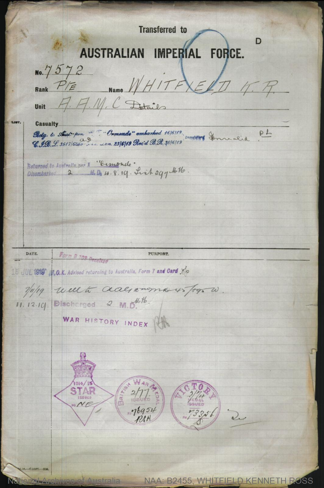WHITFIELD Kenneth Ross : Service Number - 7572 : Place of Birth - Shellharbour NSW : Place of Enlistment - Sydney NSW : Next of Kin - (Father) WHITFIELD Thomas