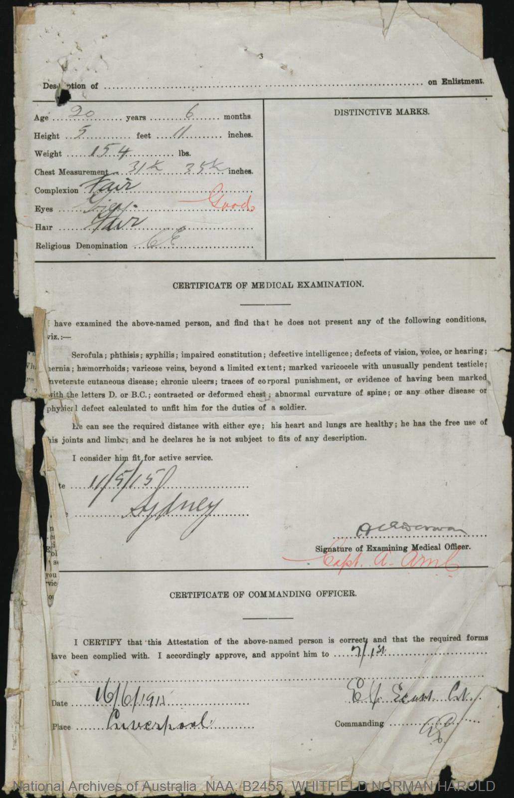 WHITFIELD Norman Harold : Service Number - Captain : Place of Birth - Sydney NSW : Place of Enlistment - Liverpool NSW : Next of Kin - (Father) WHITFIELD Joseph
