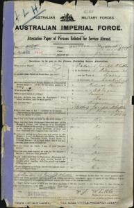 WHITTLE Frederick Joseph : Service Number - 3495 : Place of Birth - Balmain NSW : Place of Enlistment - Sydney NSW : Next of Kin - (Father) WHITTLE Joseph