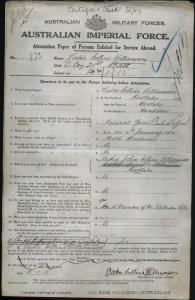 WILLIAMSON Victor Collins : Service Number - 773 : Place of Birth - Mortlake VIC : Place of Enlistment - Mortlake VIC : Next of Kin - (Father) WILLIAMSON John Collins