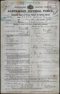 TERRY Robert Francis : Service Number - 15208 : Place of Birth - Perth TAS : Place of Enlistment - Ross TAS : Next of Kin - (Wife) TERRY Catherine