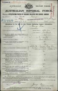 THOM George : Service Number - 2333 : Place of Birth - Aberdeen Scotland : Place of Enlistment - Adelaide SA : Next of Kin - (Father) THOM George (Snr)