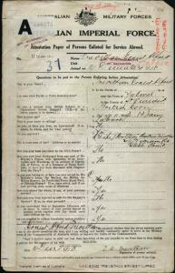 TREVETHAN Ernest Alfred : Service Number - 5242 : Place of Birth - Yalwal NSW : Place of Enlistment - Stanwell Park NSW : Next of Kin - (Wife) TREVETHAN Olive Beatrice