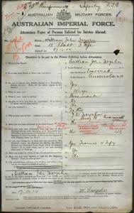 TROYAHN William John : Service Number - 1561 : Place of Birth - Warwick QLD : Place of Enlistment - Warwick QLD : Next of Kin - (Father) TROYAHN J W