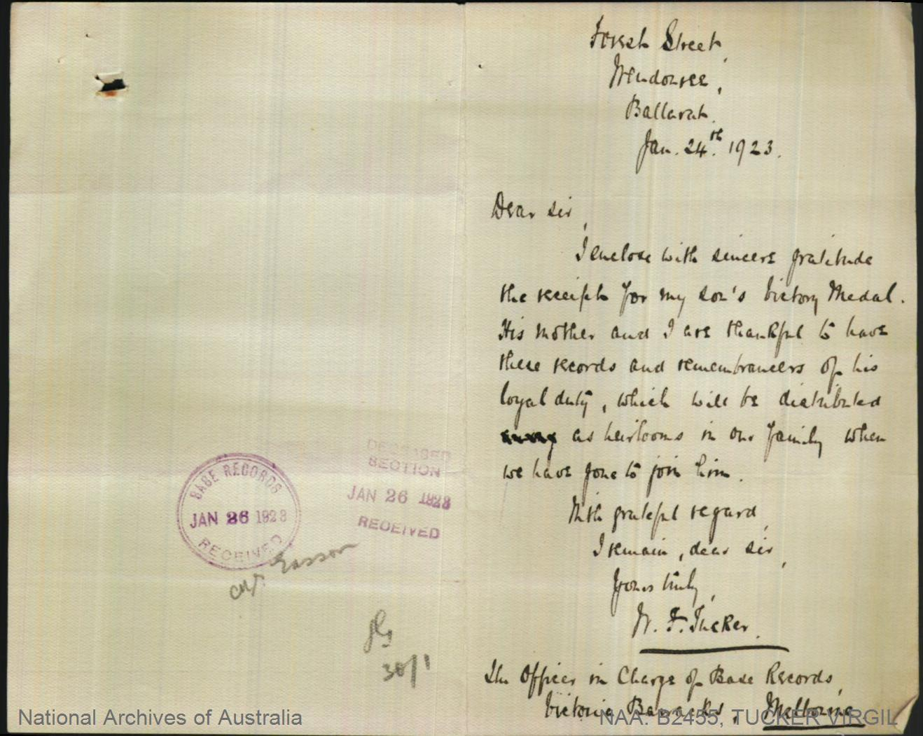 TUCKER Virgil : Service Number - Captain : Place of Birth - Charters Towers QLD : Place of Enlistment - N/A  : Next of Kin - (Father) TUCKER William Frederick