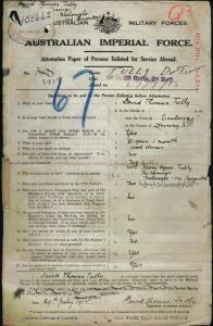 TULLY David Thomas : Service Number - 3959 : Place of Birth - Canberra ACT : Place of Enlistment - Liverpool NSW : Next of Kin - (Mother) TULLY Mary Agnes