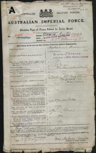 URWIN Roy Methuen : Service Number - 1930 : Place of Birth - Teralba NSW : Place of Enlistment - Newcastle NSW : Next of Kin - (Mother) URWIN Annie