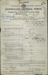 WIMBRIDGE Frederick : Service Number - 3173 : Place of Birth - Broomehill WA : Place of Enlistment - Blackboy Hill WA : Next of Kin - (Father) WIMBRIDGE David Arthur