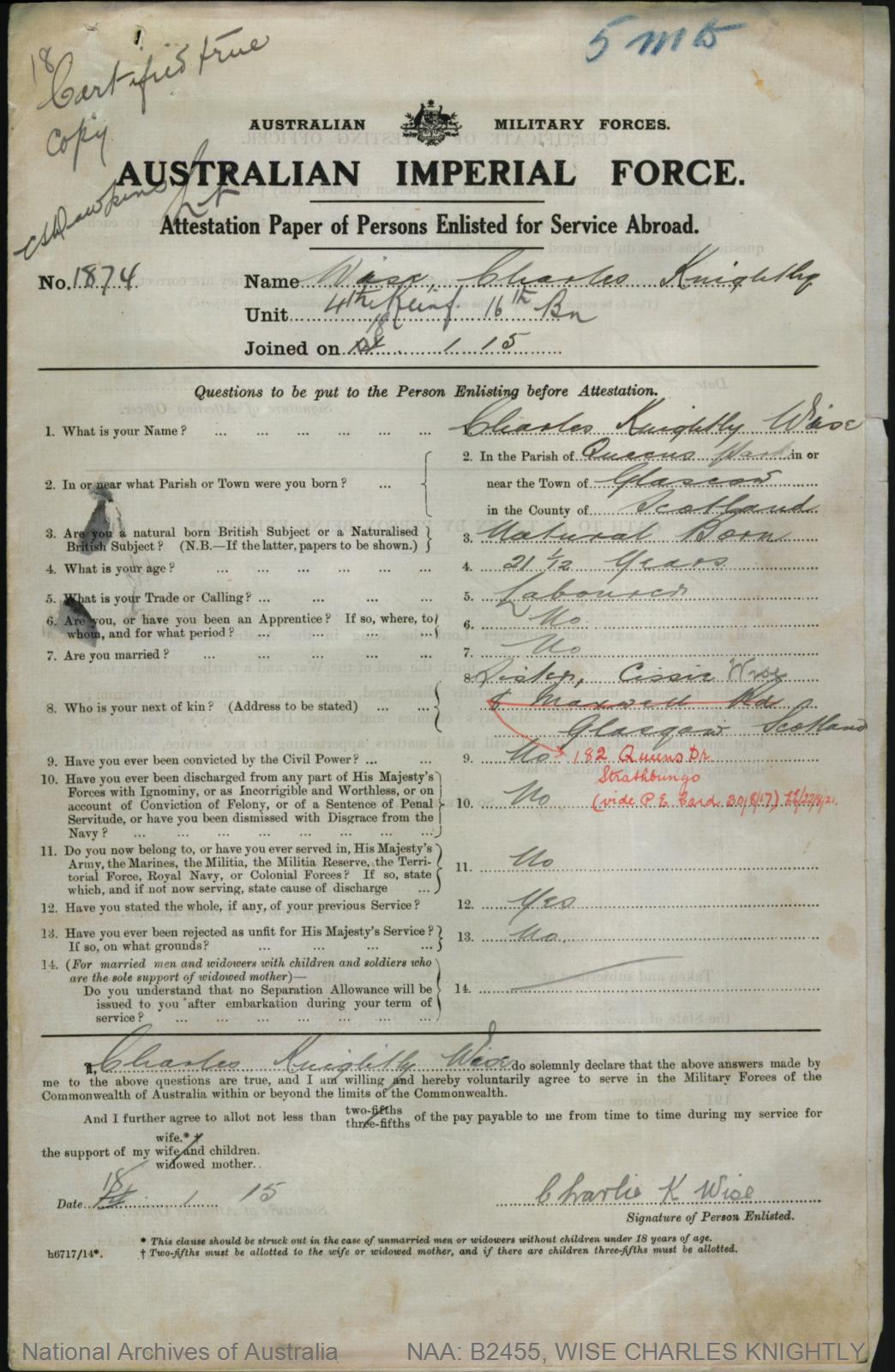 WISE Charles Knightly : Service Number - 1874 : Place of Birth - Glasgow Scotland : Place of Enlistment - Perth WA : Next of Kin - (Sister) WISE Cissie