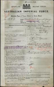 WOODCOCK Reginald George : Service Number - 1207 : Place of Birth - Chatham England : Place of Enlistment - Armidale NSW : Next of Kin - (Mother) WOODCOCK Ada Florence