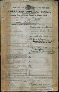 WOODHOUSE Reginald : Service Number - Lieutenant : Place of Birth - Perth WA : Place of Enlistment - Melbourne VIC : Next of Kin - (Wife) WOODHOUSE Elizabeth