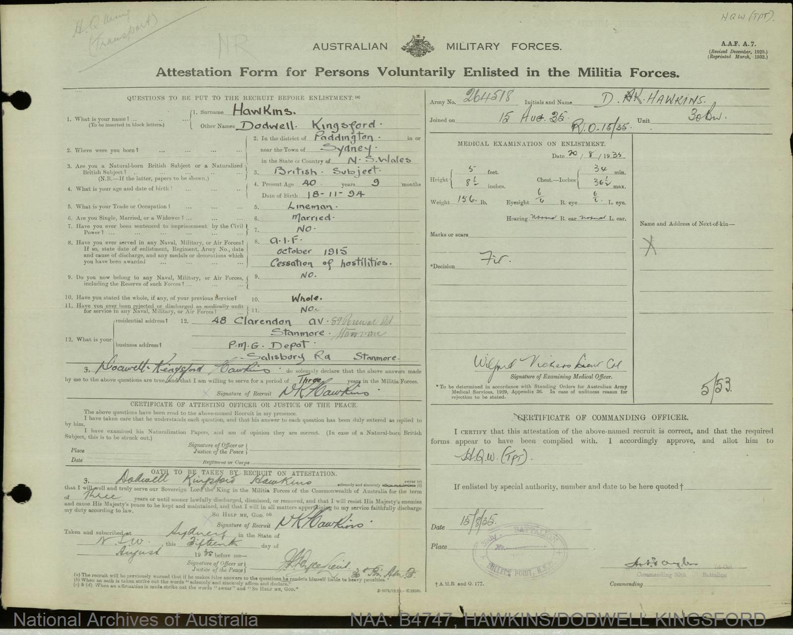 Hawkins, Dodwell Kingsford; Army Number - 264518; Date of birth - 18 November 1894