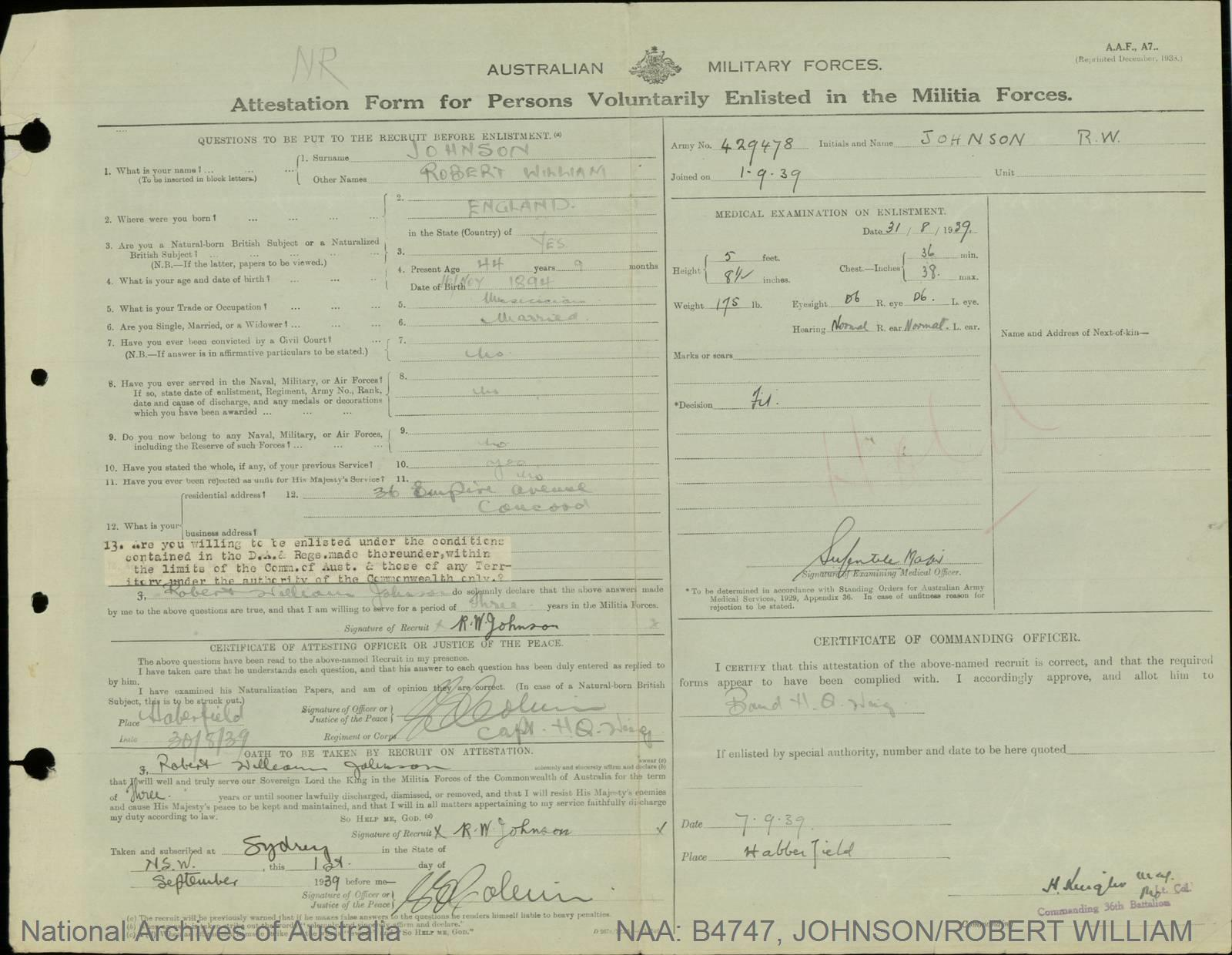 Johnson, Robert William; Army Number - 429478; Date of birth - 16 November 1894