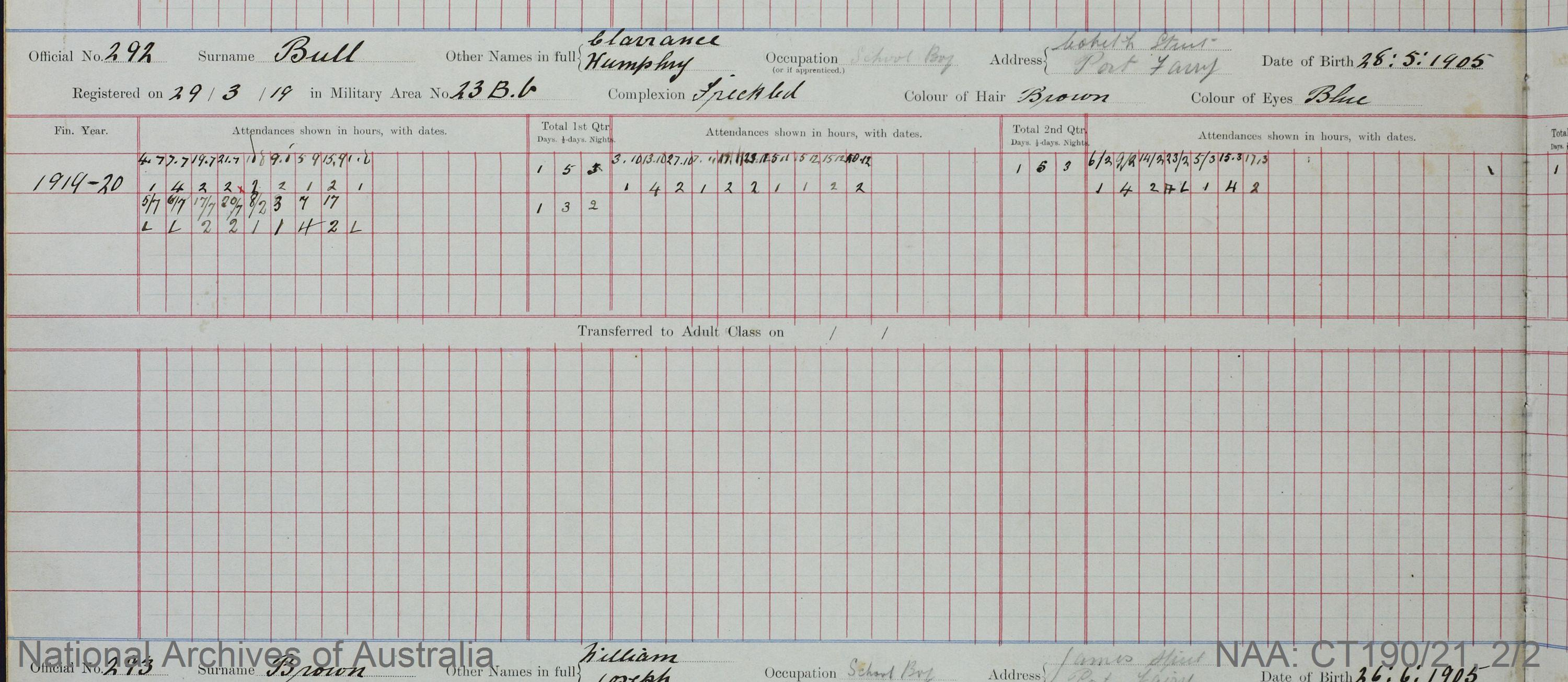 SURNAME - BULL;  GIVEN NAME(S) - Clarrance Humphry;  OFFICIAL NUMBER - 292;  DATE OF BIRTH - 28 May 1905;  PLACE OF BIRTH - [Unknown];  NEXT OF KIN - [Unknown] ;  SERVICE/STATION - Port Fairy;  REGISTRATION DATE - 29 March 1919