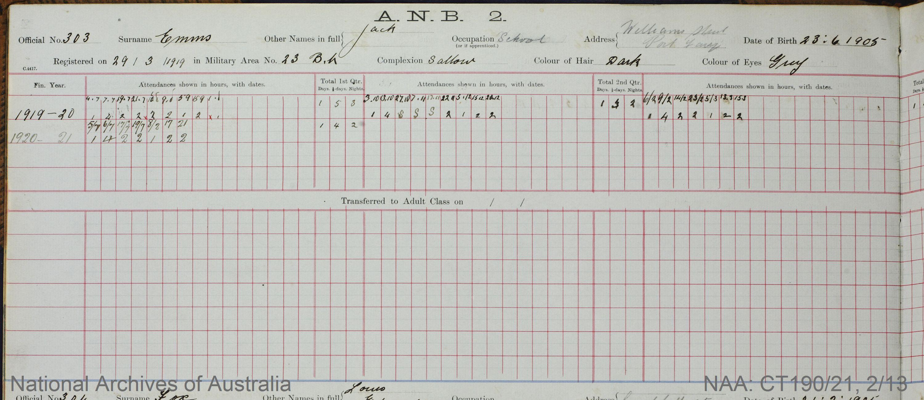 SURNAME - EMMS;  GIVEN NAME(S) - Jack;  OFFICIAL NUMBER - 303;  DATE OF BIRTH - 23 June 1905;  PLACE OF BIRTH - [Unknown];  NEXT OF KIN - [Unknown] ;  SERVICE/STATION - Port Fairy;  REGISTRATION DATE - 29 March 1919