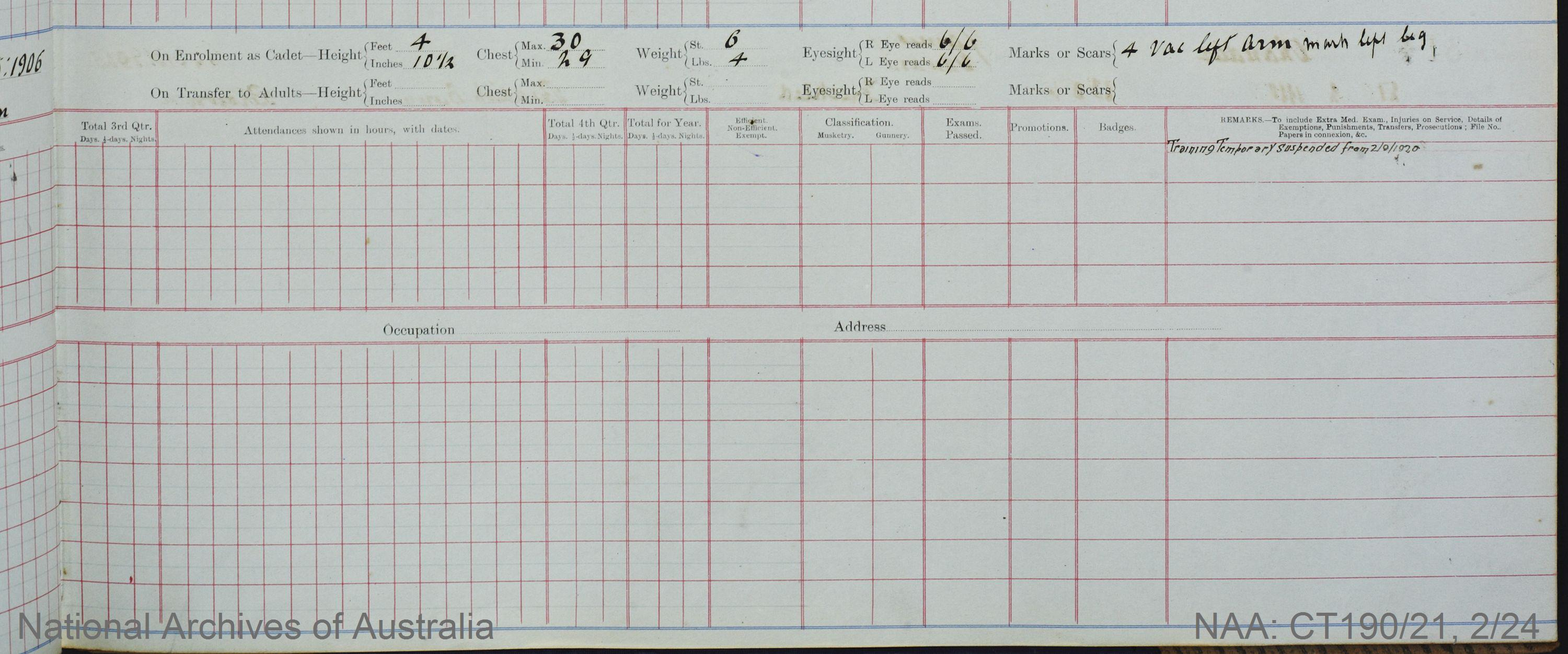 SURNAME - BROWN;  GIVEN NAME(S) - Stanley Charles;  OFFICIAL NUMBER - 314;  DATE OF BIRTH - 8 May 1906;  PLACE OF BIRTH - [Unknown];  NEXT OF KIN - [Unknown] ;  SERVICE/STATION - Port Fairy;  REGISTRATION DATE - 30 January 1920