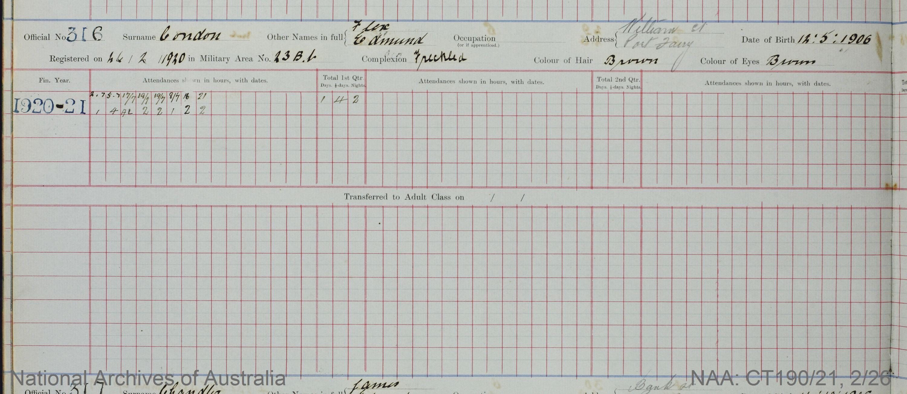 SURNAME - CONDON;  GIVEN NAME(S) - Flex Edmund;  OFFICIAL NUMBER - 316;  DATE OF BIRTH - 12 May 1906;  PLACE OF BIRTH - [Unknown];  NEXT OF KIN - [Unknown] ;  SERVICE/STATION - Port Fairy;  REGISTRATION DATE - 26 February 1920