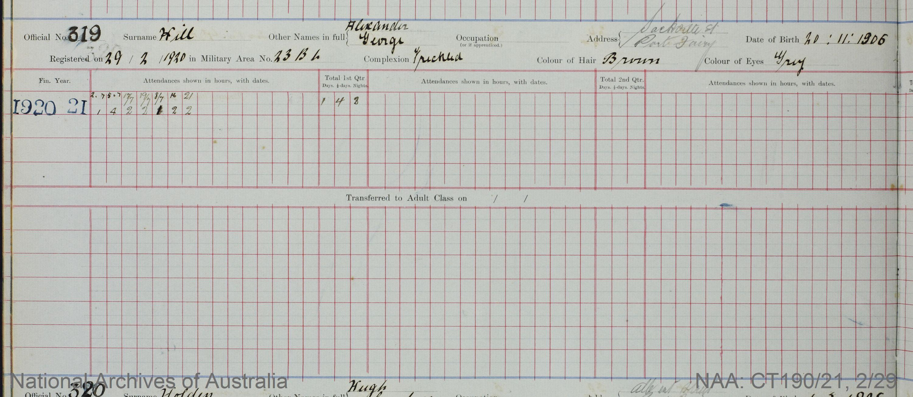 SURNAME - HILL;  GIVEN NAME(S) - Alexander George;  OFFICIAL NUMBER - 319;  DATE OF BIRTH - 20 November 1906;  PLACE OF BIRTH - [Unknown];  NEXT OF KIN - [Unknown] ;  SERVICE/STATION - Port Fairy;  REGISTRATION DATE - 29 February 1920