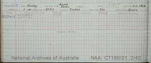 SURNAME - SHARKEY;  GIVEN NAME(S) - Lenord Devlin;  OFFICIAL NUMBER - 332;  DATE OF BIRTH - 8 June 1906;  PLACE OF BIRTH - [Unknown];  NEXT OF KIN - [Unknown] ;  SERVICE/STATION - Port Fairy;  REGISTRATION DATE - 1 March 1920