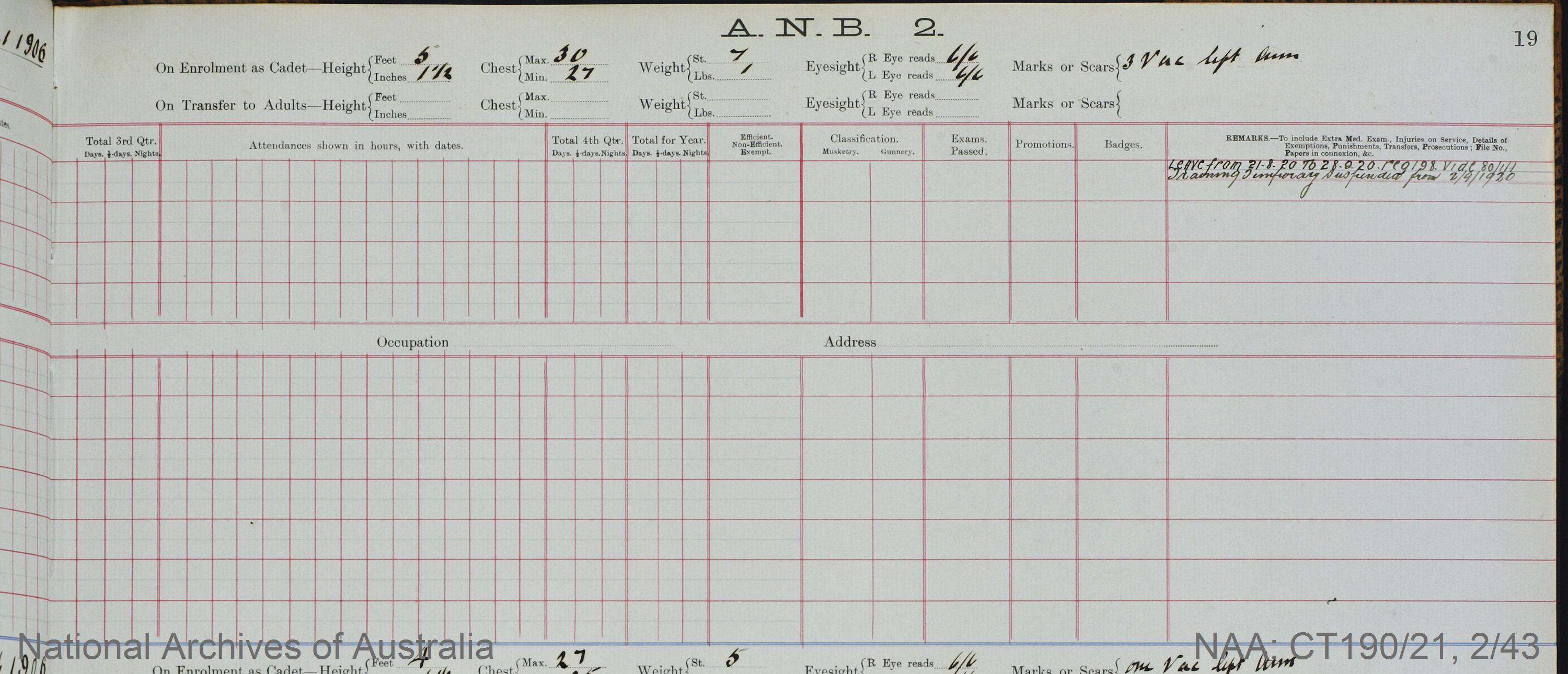 SURNAME - VANCE;  GIVEN NAME(S) - Allan;  OFFICIAL NUMBER - 333;  DATE OF BIRTH - 29 January 1906;  PLACE OF BIRTH - [Unknown];  NEXT OF KIN - [Unknown] ;  SERVICE/STATION - Port Fairy;  REGISTRATION DATE - 2 February 1920