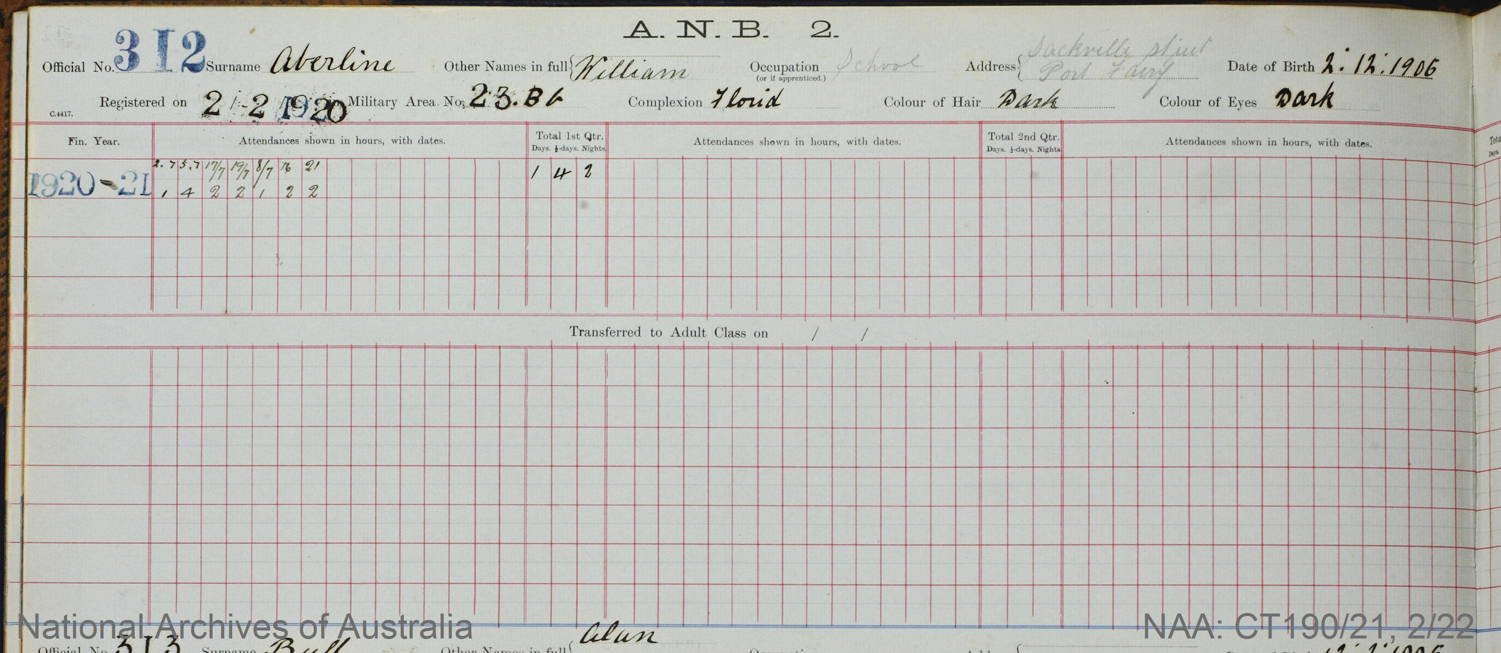 SURNAME - ABERLINE;  GIVEN NAME(S) - William;  OFFICIAL NUMBER - 312;  DATE OF BIRTH - 2 December 1906;  PLACE OF BIRTH - [Unknown];  NEXT OF KIN - [Unknown] ;  SERVICE/STATION - Port Fairy;  REGISTRATION DATE - 2 February 1920