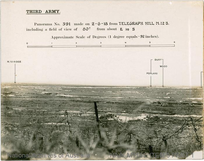 TITLE: Third Army - Panorama No. 591 made on 2 June 1918 from Telegraph Hill M.12.B including a field of view of 80 degrees from about E to S [includes references to Dury, Vis-en-Artois, Guemappe-Wancourt Road, Arras-Cambrai Road, L'Esperance Farm, Marliere, Heninel Switch, and Neuville-Vitasse-Wancourt Road] CATEGORY: photograph PRINCIPAL CERDIT: Printed by Army Printing and Stationary Services, No. 3 Advanced Section FORMAT: b&w print TYPE: silver gelatin STATUS: preservation material