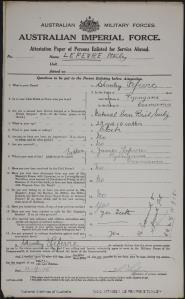Le Fevre, Stanley; age 20; born - Pyengana Tas